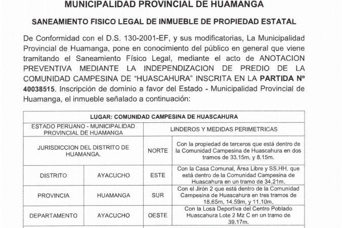 Municipalidad de Huamanga y Comunidad Campesina de Huascahura tramitan saneamiento físico